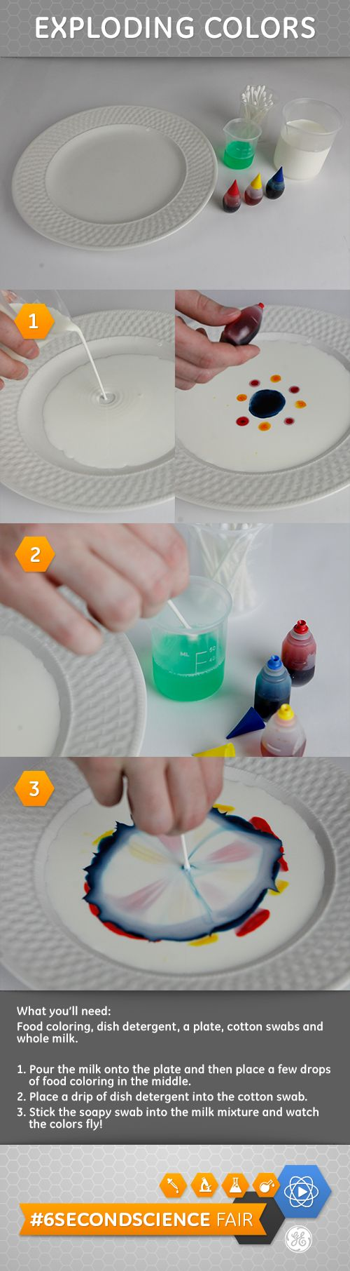 What happens when you combine milk, food coloring, and dish soap? #DIY #6SecondScience