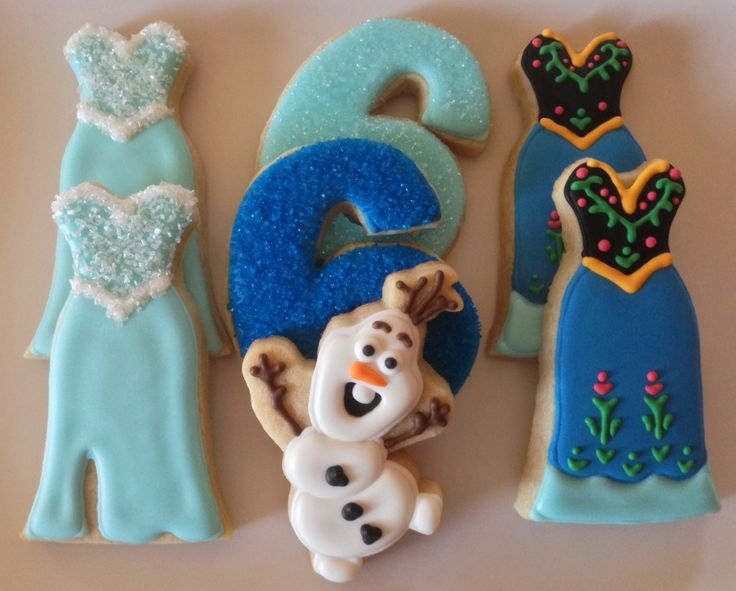Disney's Frozen themed sugar cookies by What The Cookie! Confections.  Elsa ; Anna; Olaf; princess dress; Disney birthday