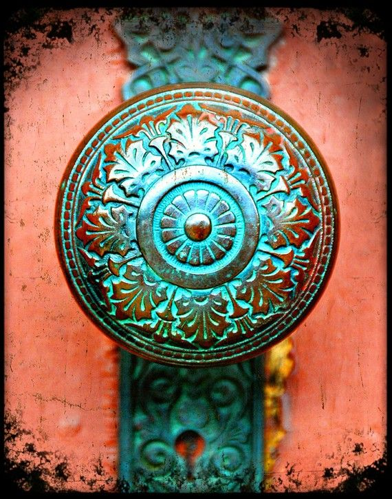 Clay, turquoise, yellow, red and brass. fine art photograph of patinaed verdigris doorknob by senterstudios, selling on Etsy