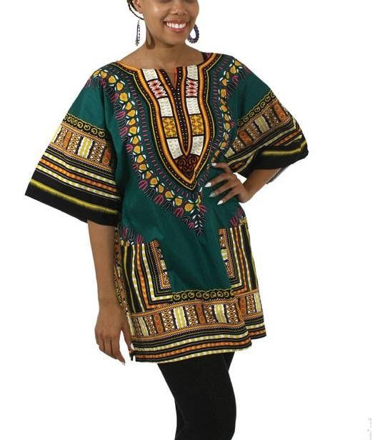 FAST SHIPPING WOMEN African Dashiki Shirt Green