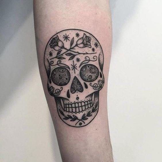 Sugar skull tattoo by local_pirate on Instagram. sugarskull dayofthedead skull blackwork