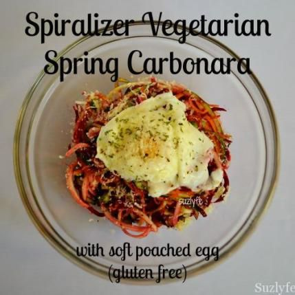 This healthy vegetarian carbonara recipe brings spring to your table with spiralizer beet, sweet potato, and zucchini noodles and a perfect egg.