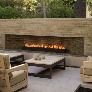 long linear outdoor fireplace