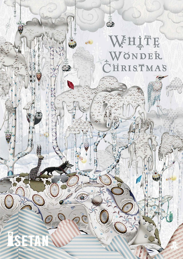 this poster design describes the WHITE WONDER CHRISTMAS by Klaus Haapaniemi. its Narrow designed arrangement, every corner filled with hidden meaning,many detail to attract people eyes to understand the important meaning of Christmas.