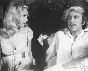 """Gene Wilder with Teri Garr in Young Frankenstein and he's wearing his PJs. SLUMBER PARTY AT GENE""""S HOUSE YEAHHHHHHHHHHHH"""