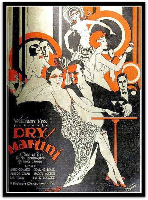"""Poster advertising the production of """"Dry Martini"""", 1928, based on a novel depicting life  on the Right Bank of Paris in the early 1920s"""