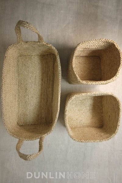 Jute Storage Collection. Set of three small baskets. Natural - DUNLIN™ Home Australia - 1