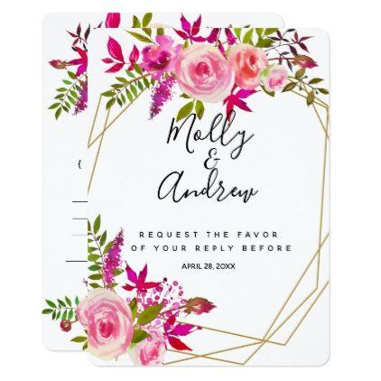 Crystal Pink Peach Roses wedding RSVP reply CARD - elegant wedding gifts diy accessories ideas