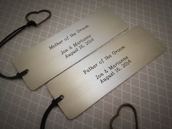 Personalized metal bookmarks. Wedding gift idea for father and mother of the groom, and father and mother of the bride. By SimplyYoursByDesign on Etsy