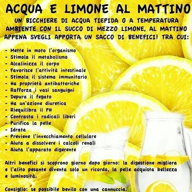 I benefici di acqua e limone al mattino appenza svegli ;)