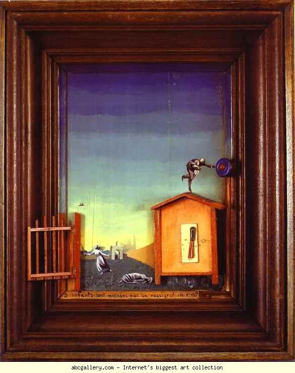 Max Ernst. Two Children are Threatened by a Nightingale. 1924. Oil on wood with wooden elements. 69.8 x 57.1 x 11.4 cm. The Museum of Modern Arts, New York, NY, USA.