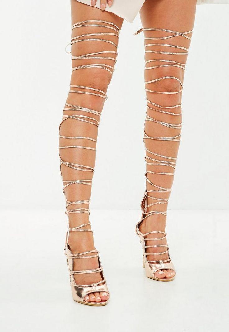 Rose Gold Knee High Gladiator Heeled Sandals