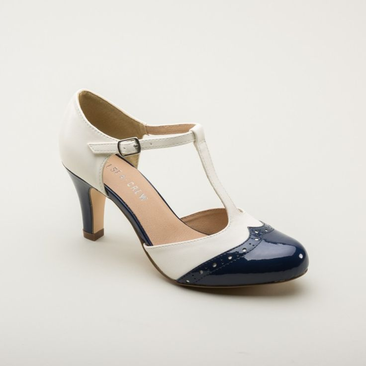 Gatsby Two-Tone T-strap 1920s Shoes by Chelsea Crew (Blue/White