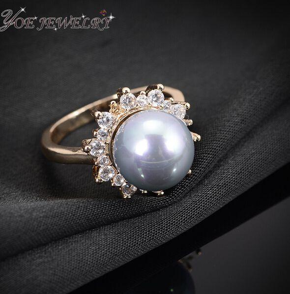 Iyoe свадебные украшения круг форма пресной воды перл кольца 2015 летний стиль мода классический циркон кольцо для женщин валентина подарок.