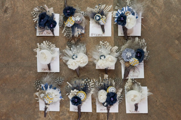 Make your wedding bouts last a lifetime by using fun combinations of feathers, buttons, fabric scraps, etc.
