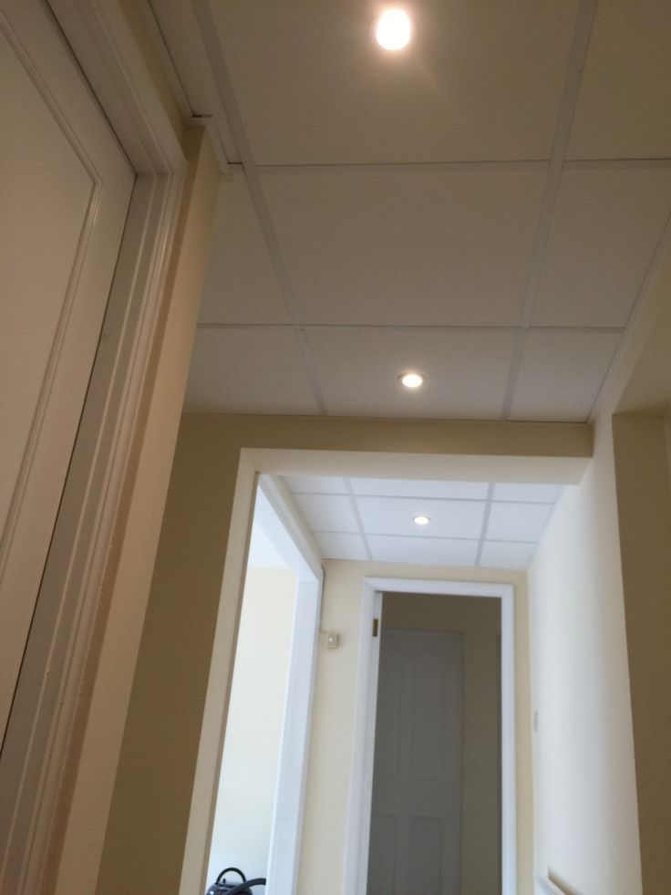 Suspended ceiling with lights.