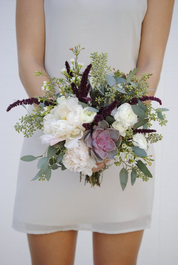 Items Similar To Burgundy Wedding Flowers Seeded Eucalyptus Flower Package Peony On Etsy