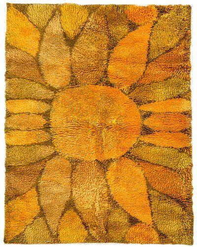 Ritva Puotila; Wool 'Auringon Kukka' Rya Rug for Oy Finnrya, 1960s.