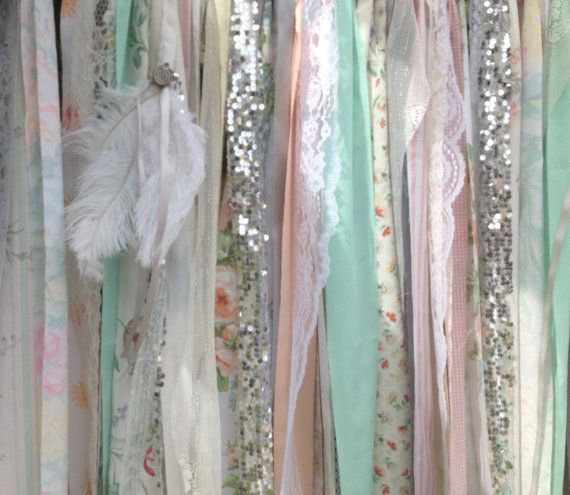 Boho Backdrop Tribal Curtains Peach Mint Gray Rag Curtain 7 ft long Aztec Ribbon Curtain Wedding Garland