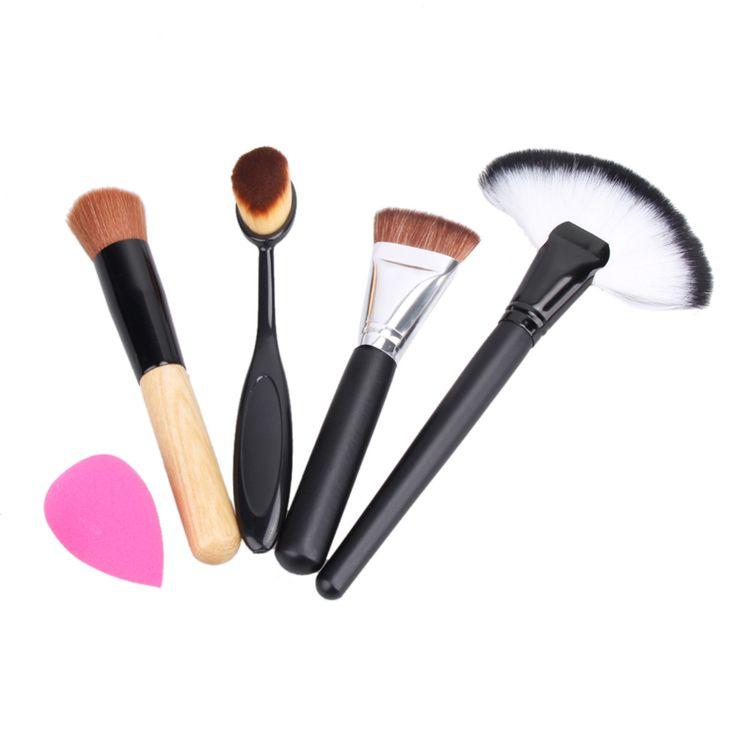 2 x make-up pinsel + pulver blush foundation pinsel + schwamm puff + kontur pinsel pinceaux maquillage makup pinsel-werkzeug set