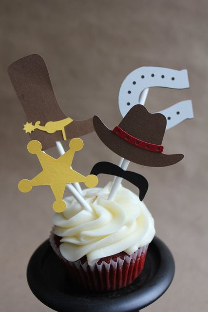 western cowboy Cupcake Toppers wedding birthday baby shower Party food picks free shipping photo booth props