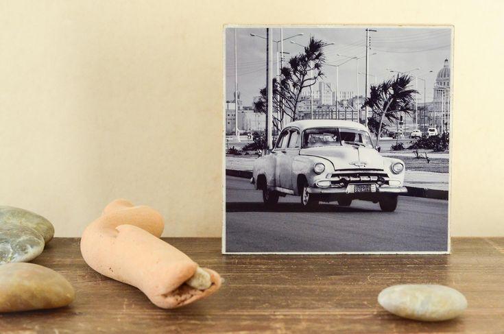 Ich freue mich, den jüngsten Neuzugang in meinem #etsy-Shop vorzustellen: Kuba Havanna Auto Oldtimer Chevy Foto auf Holz, im Quadrat, 13 cm x13 cm, P…
