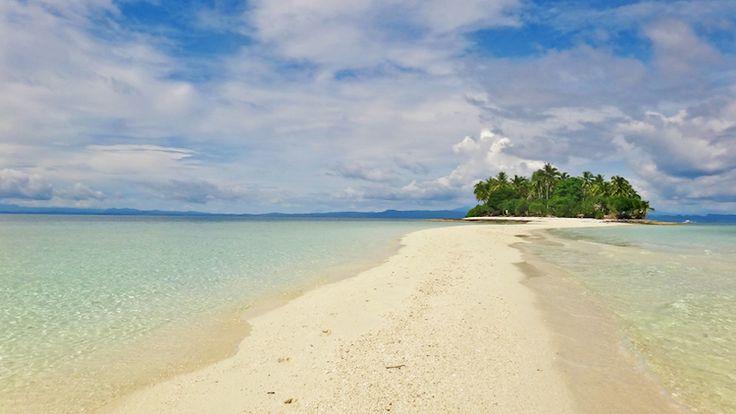 Sand bank beach in Kalanggaman Island in Leyte, Philippines