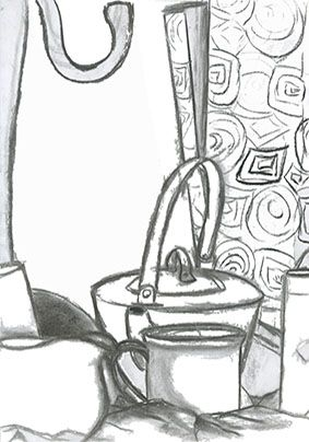 Line drawing of still life (willow charcoal)
