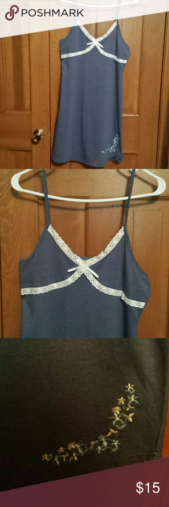 New Very Cute Nightgown sz Med New w/o tags, denim blue w/white lace. Polyester and cotton, adjustable straps. Age Group  Intimates & Sleepwear Chemises & Slips