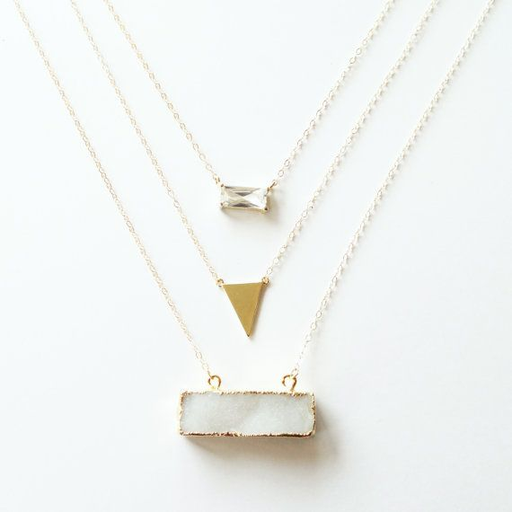14k Gold Layered Druzy Bar Necklace with Gold Triangle & Suspended Emerald Cut Glass by Landon Lacey, Delicate Necklace, Gold Druzy Necklace