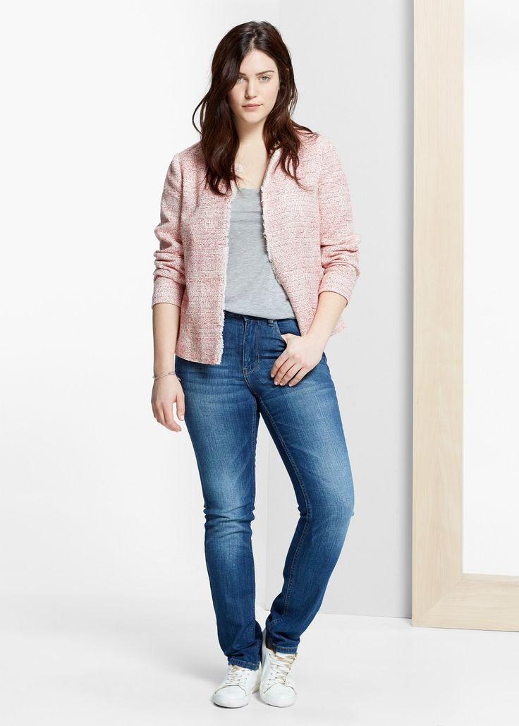 Frayed edges jacket - Jackets Plus sizes | Violeta by MANGO Czech Republic