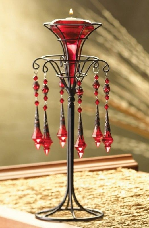Red Victorian Candleholder
