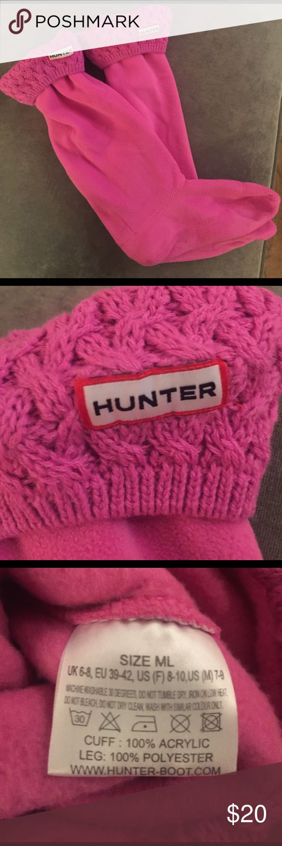 Hunter boot liners size ML Like new, may have been worn once, Hunter tall boot liners size ML fits boot size 8-10 hot pink color with sweater top, warm fleece bottom. Hunter Accessories Hosiery & Socks