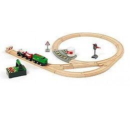 Brio treinen RC vrachttrein set  De trein kan op afstand worden bediend maar ook door middel van de knoppen op de trein. Incl. licht en geluidseffecten.  http://www.brio-trein.nl/brio-treinen-33517-rc-vrachttrein-set.html