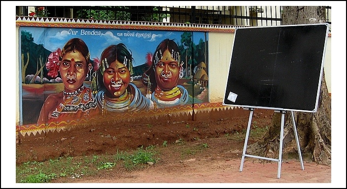 """In this image you see the paintings of Bonda Tribe.The Bonda are an ancient tribe of people numbering approximately 5000 who live in the isolated hill regions of the Malkangiri district of southwesternmost Orissa, India, near the junction of the three states of Orissa. The Bonda are a scheduled tribe of India and are also known as Remo (meaning """"people"""" in the Bonda language), Bhonda, Bondo, or Bondo Poraja. Their language belongs to the Munda subgroup of the Austro-Asiatic language family."""