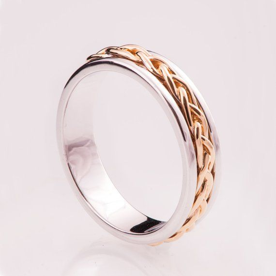 Braided Ring No 9 14k Gold Ring Wedding Band Two Tone Etsy Gold Band Wedding Ring Wedding Ring Bands Gold Diamond Wedding Rings