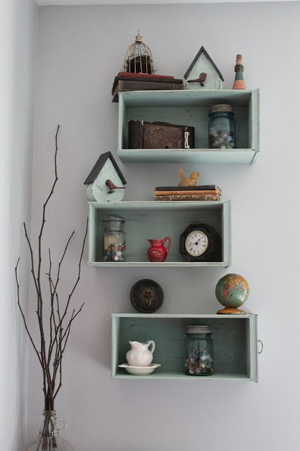Namely Original: Drawers Turned Shelves...something like this with my coke cases