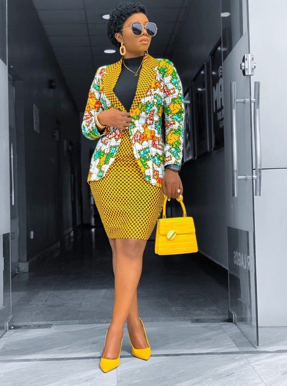 African Print Blazer Jacket with Mini Skirt - Ankara Print - African Dress  - Two Piece … | Office wear women, African clothing styles, African print  fashion dresses