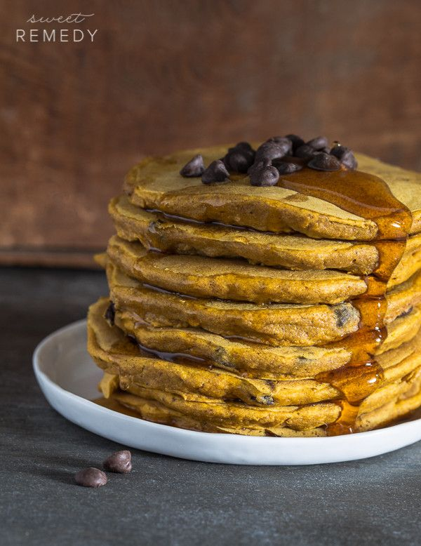 Pumpkin Chocolate Chip Pancakes made with whole grains and dairy-free chocolate chips. These pancakes are also vegan and dairy-free!