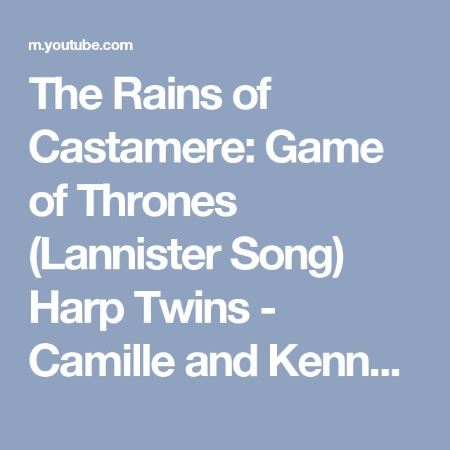 The Rains of Castamere: Game of Thrones (Lannister Song) Harp Twins - Camille and Kennerly - YouTube