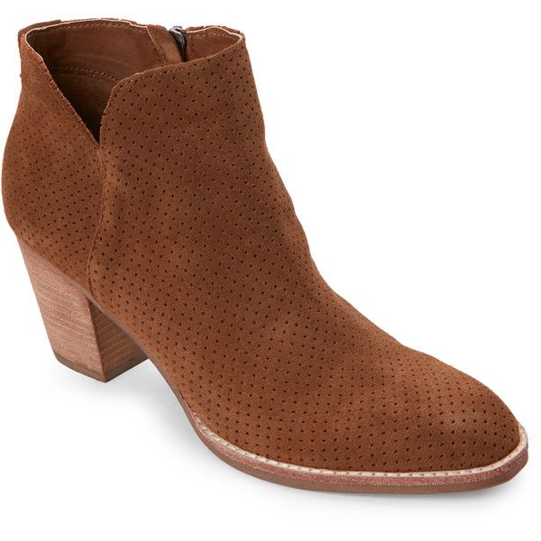 Dolce Vita Dark Saddle Janae Perforated Cuban Heel Ankle Booties ($70) ❤ liked on Polyvore featuring shoes, boots, ankle booties, brown, perforated boots, high heel boots, brown boots, faux-fur boots and cuban heel boots