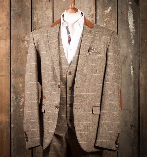 Marc Darcy DX7 Tweed Herringbone Check Suit Jacket - Tan - Master Debonair - 1