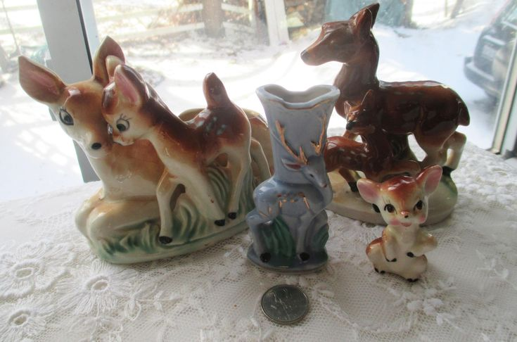 Vintage Deer Collection, Mamma and Baby Deer, Miniature Deer, Ceramic Deer, Collectible Deer, Tiny Ceramic Deer, Vintage Animals, Bambi Deer by MyGrandmothersHouse on Etsy