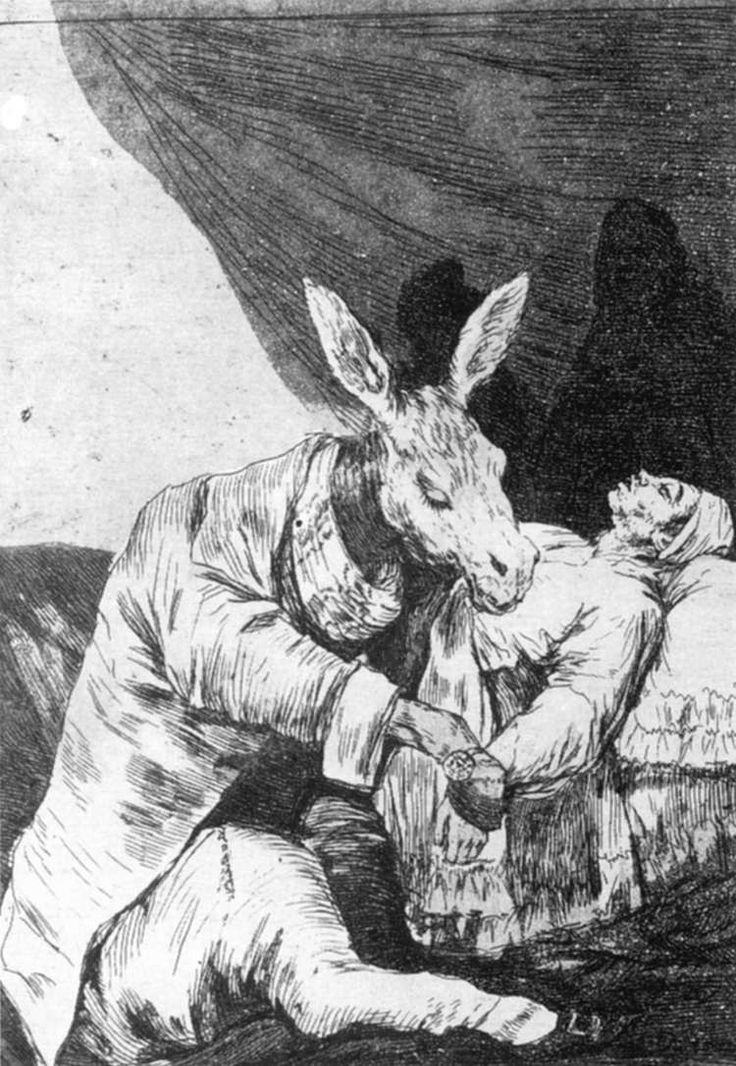 Of What Ill Will he Die? ¿De qué enfermedad morirá? Goya. 1799. Los Caprichos. Etching and aquatint. 217 x 151 mm.