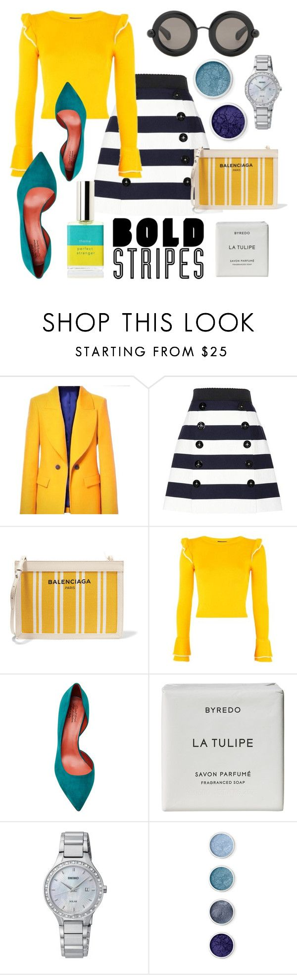 """""""Bold stripes"""" by sophier on Polyvore featuring Zara, Dolce&Gabbana, Balenciaga, Topshop, Byredo, Seiko Watches, Terre Mère and Christopher Kane"""