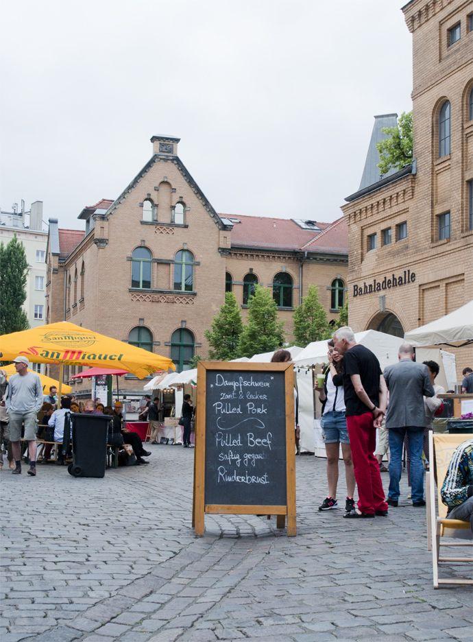 Kulturbrauerei Prenzlauer Berg, Berlin. Food market on sunday.