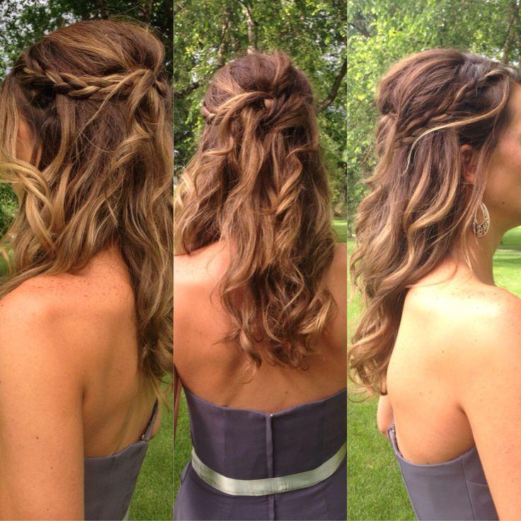 3 angles of wedding hair braided half-up do big waves beachy curls outdoor w