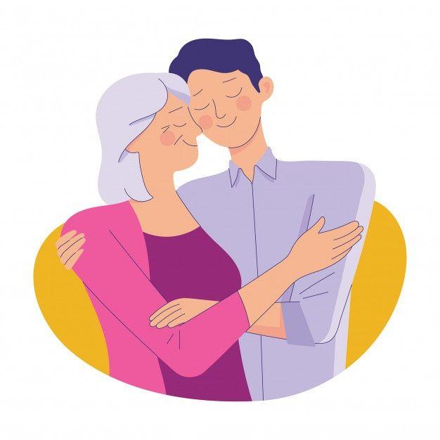 Joven Abraza A Su Vieja Madre Con Amor Premium Vector Freepik Vector Personas Amor Ninos Familia Ilustracion De Bebe Viejitos Abrazo