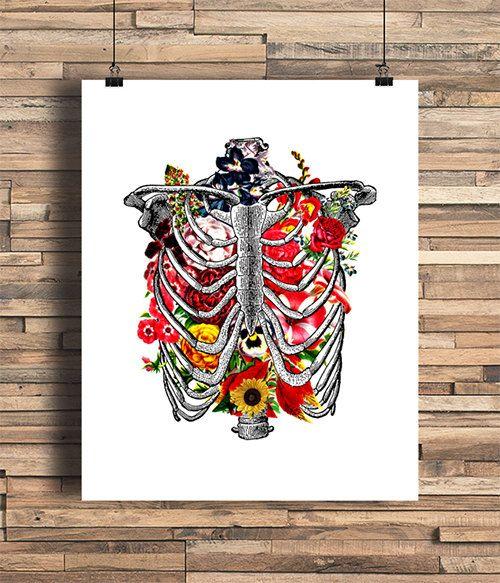 Rib Cage With Flowers Illustration Bones Human Anatomy