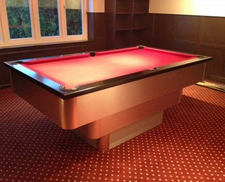 7ft Tiered Contemporary UK Pool Table in Brushed Aluminium with Black Cushion / Burgundy Cloth. Shop here: http://www.snookerandpooltablecompany.com/pool-tables/uk-pool-tables/contemporary-bespoke-uk-pool-tables/tiered-contemporary-uk-pool-table-black-cushion-rail-burgundy-cloth.html